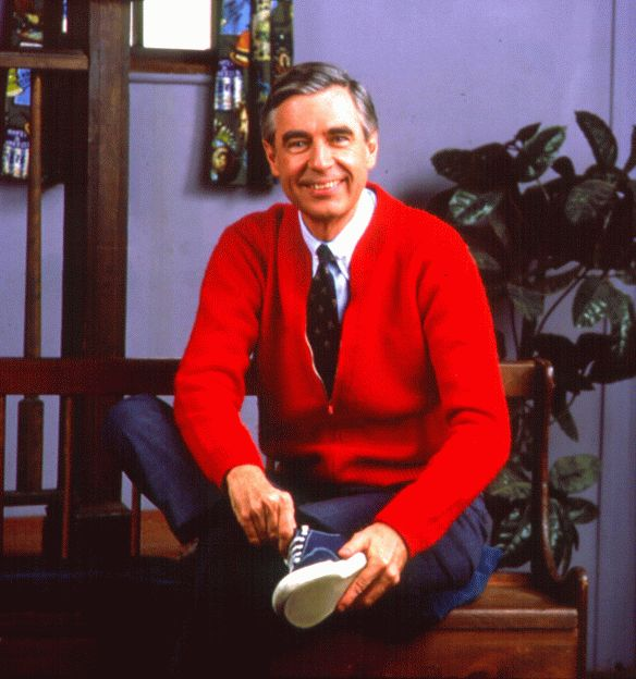 mr. rogers..I remember him always putting his shoes on and feeding his goldfish! :) I miss you mr Rogers!!!!