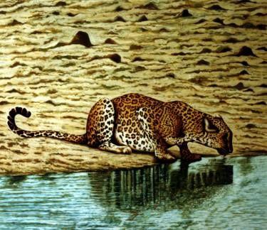 """Saatchi Art Artist Dan Civa; Painting, """"Leopard drinking water, Wilpattu National Park, Sri Lanka"""" #art"""