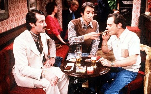Old Only Fools and Horses: John Challis as Boycie, Roger Lloyd Pack as Trigger and David Jason as Del Boy
