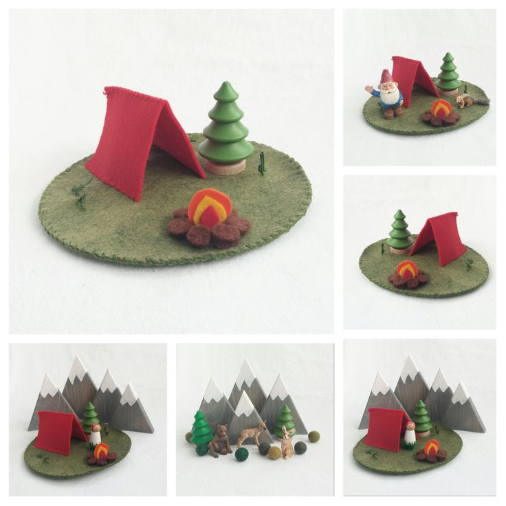 Red Tent Play Mat Mini wool felt pretend open-ended storytelling fantasy playscape camping make believe dollhouse peg doll play by MyBigWorld2015 on Etsy
