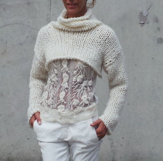 Ivory white chunky sweater, cropped sweater, shrug iLE AiYE knitwear  DESIGN RIGHTS BELONG TO iLE AiYE 2013 -FELLOW ARTISANS PLEASE BE RESPECTFUL - This snug shrug / cropped sweater is born for the need to feel snug and cozy when the seasons change or the air cools down in the evening/morning. A simply comfy lightweight cropped Ivory sweater. knitted with a chunky 10% wool, 20% alpaca, 70% acrylic yarn. with no itchiness. with medium wide sleeves, and a cowl neck collar, (variations...