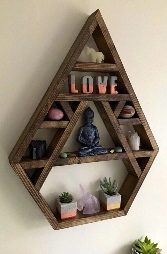 Chakra, Large crystal display shelf, crystal display shelf, crystals, bhuda, crystal display, wall shelves, altar, bohemian decor, moon phas