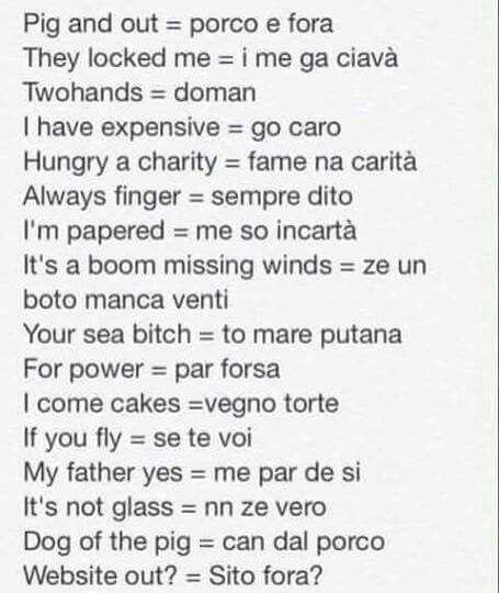 English - Dialetto veneto