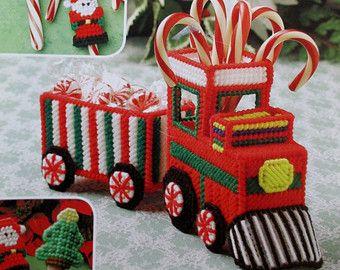 free candy cane plastic canvas pattern images | ... TRAIN Box handmade Secret Santa plastic canvas PATTERN gift Decoration