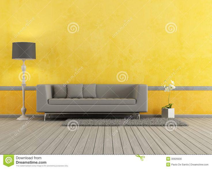 Grijze en gele woonkamer