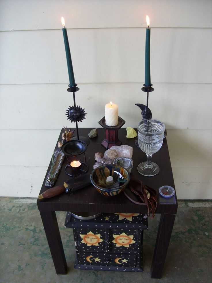 Altars:  Pagan Altar. Love the storage chest below!