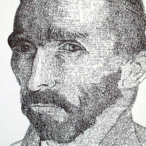 Recreating a Van Gogh self-portrait with handwriting...