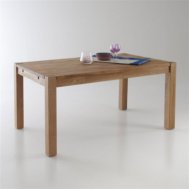 Table rectangulaire 2 allonges ch ne massif 6 10 couverts adelita la redo - Table haute la redoute ...
