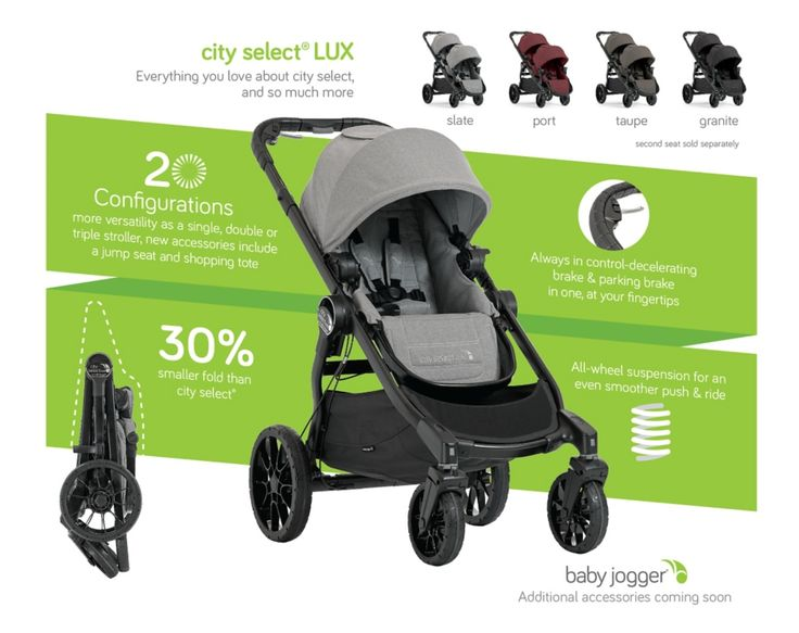 City Select LUX Coming Soon 2017 - Baby Jogger - Baby Jogger. You can buy a second seat to make it a double stroller and it also comes with a sit seat for toddler so you can have smaller baby in seat.