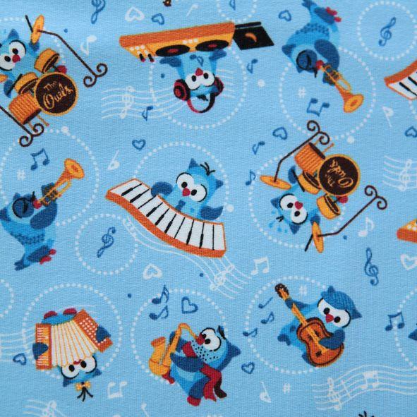 Bavlněný úplet teplákovina sovy hudebnice modrá Tante Ema. Co na to Michal David :)