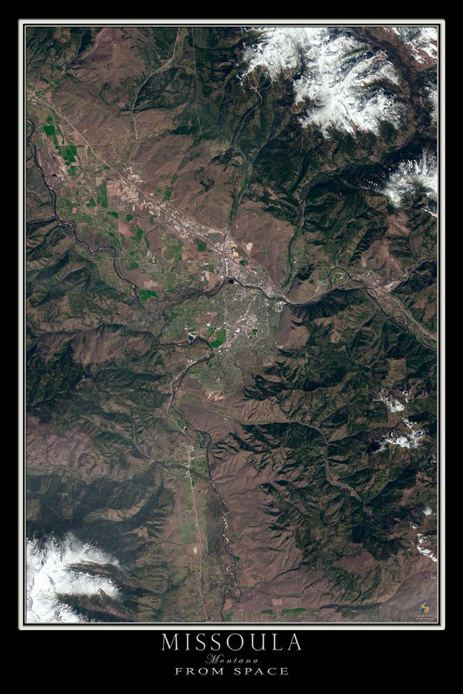 Missoula Montana Satellite Poster Map 182 best