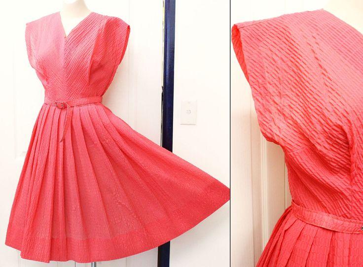 1950s Watermelon Dress Nylon Plisse Semi-Sheer Size 6 10 36/28/free by KittysVintageKitsch on Etsy