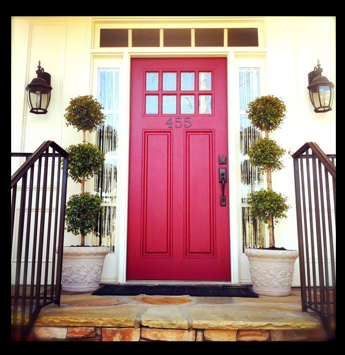 Red Door With Lovely Black Hardware