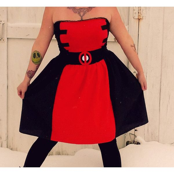 Lady Deadpool inspired dress Cosplay Costume Halloween womens AND plus... ($69) ❤ liked on Polyvore featuring costumes, superheros, plus size womens costumes, superhero halloween costumes, plus size superhero costumes, womens costumes and plus size costumes