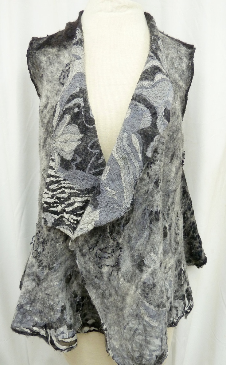Black and White Print Nuno Felted Vest Seamless Reversible. $425.00, via Etsy.