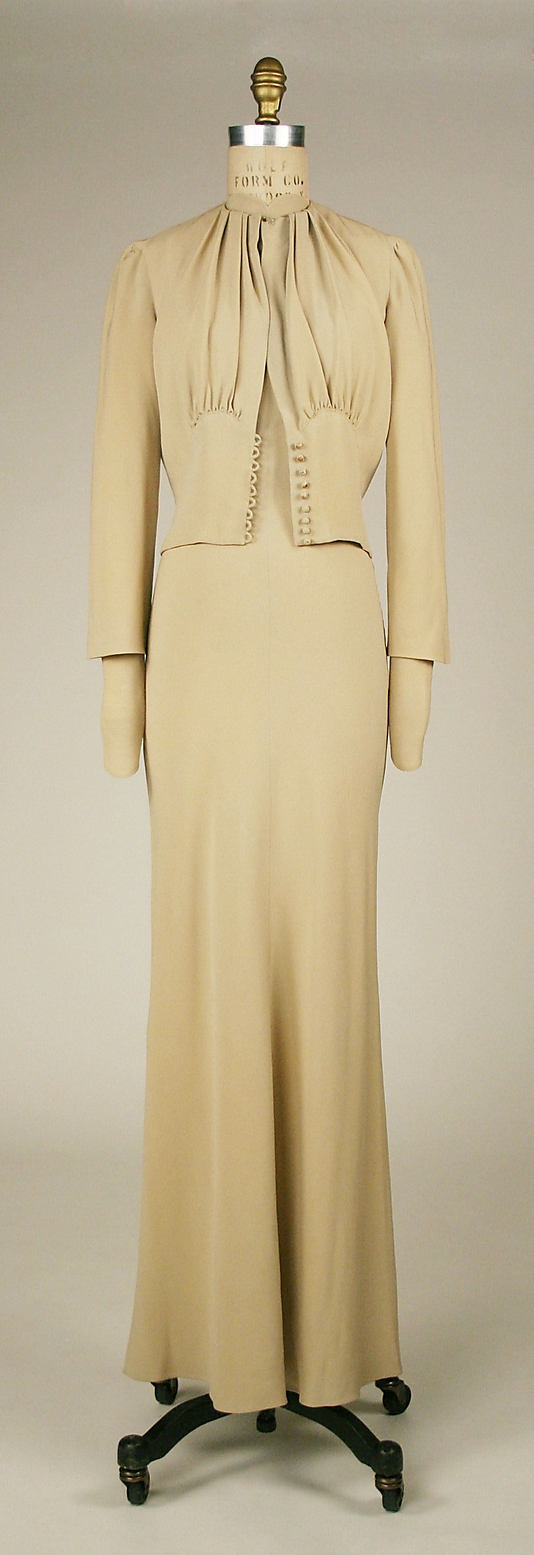 Mainbocher, Wedding Dress and Jacket - 1937 - Made for Wallis Simpson - A defect in the stability of the dye has caused the dress to lose its 'Wallis Blue' - The Metropolitan Museum of Art