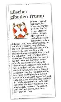 Der «Tages-Anzeiger» machte Lüschers Mail pubklik. Nie und niemals, Grossmaul, POtentaten-Anwalt, Dreck am Stecken
