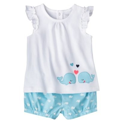 Just One You™Made by Carter's® Girls' 2 Piece Set - White/Light Blue