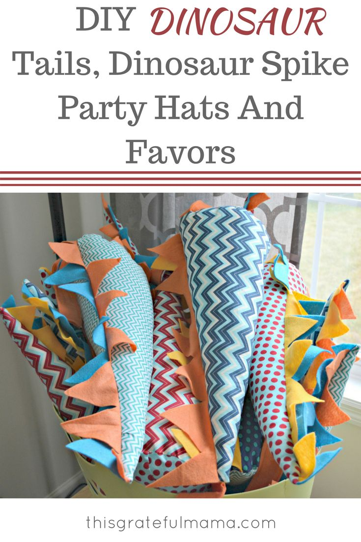 DIY Dinosaur Tails, Dinosaur Spike Party Hats And Favors | thisgratefulmama.com