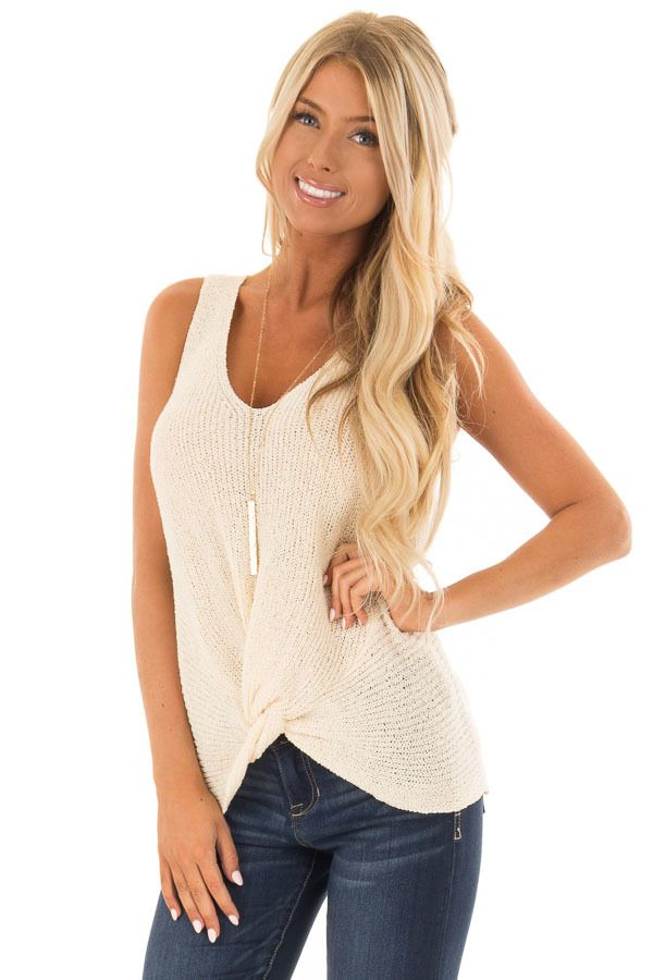 008477f3461644 Cream Textured Knit Tank Top with Front Twist Detail