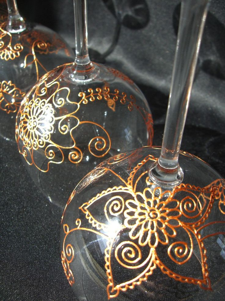 One of kind wine glasses with option to PERSONALIZE. Hand painted henna style designs wine glass art. WEDDING, Indian wedding, anniversary. Mehndi Glass via Etsy.