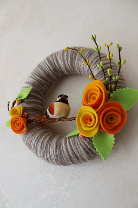 Spring Bird Wreath Brown Yellow Orange 8 by polkadotafternoon, $27.00