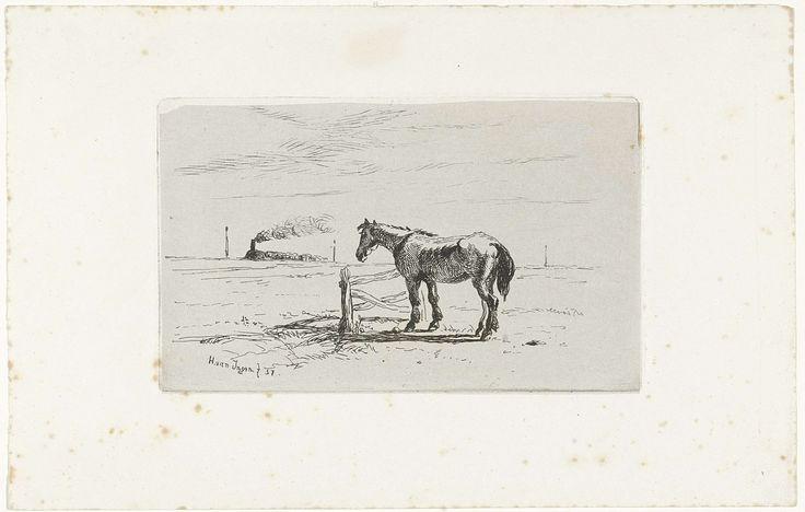 Henry van Ingen | Paard in een weiland, Henry van Ingen, , 1857 | Paard bij een hek in een weiland. Aan de horizon rijdt een stoomtrein.