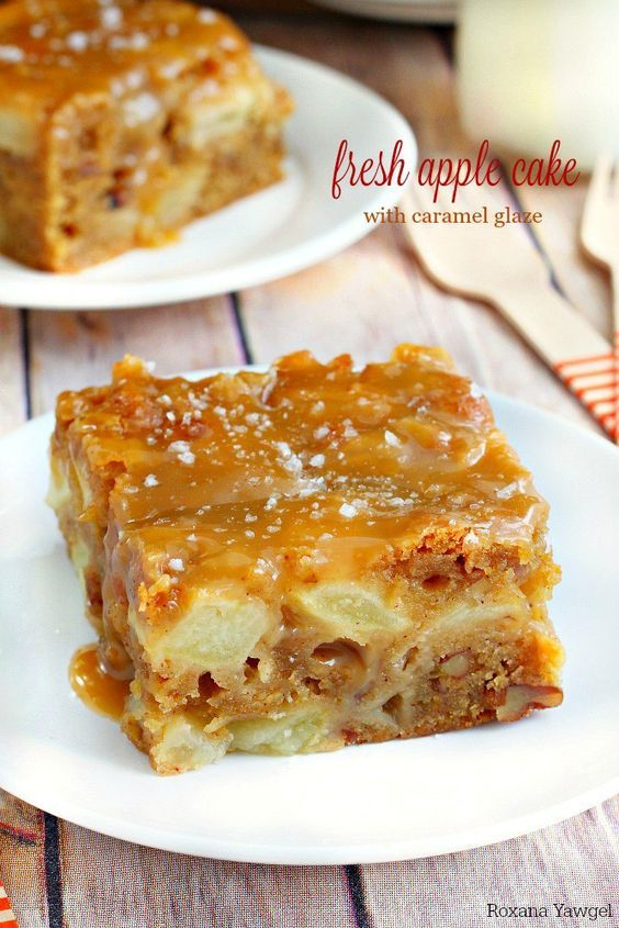 Super moist and delicious fresh apple cake loaded with fresh apple chunks and flavored with warm fall spices. Top it off with a salted caramel glaze for a decadent treat!