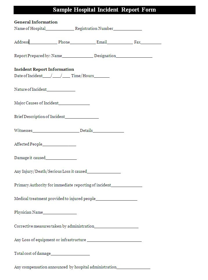 A hospital incident report form is usually prepared to report an - incident report pdf