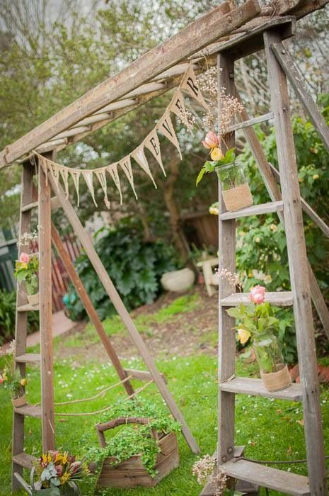Rustic Timber Ladders Weddings Backdrop For Ceremony