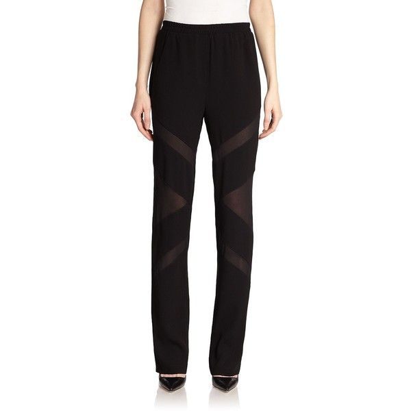 BCBGMAXAZRIA Caleb Combo Pants ($137) found on Polyvore featuring pants, apparel & accessories, black, elastic waistband pants, black trousers, fancy pants, elastic waist pants and dressy pants
