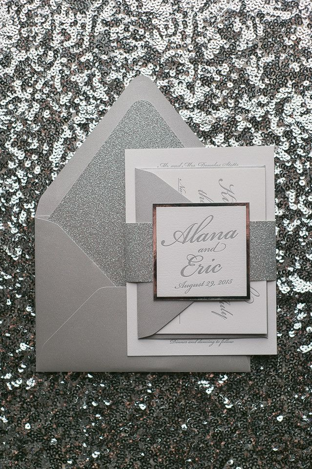 MICHAELA Suite Glitter Package, silver wedding invitations, glitter, silver theme wedding, black tie wedding invitations, elegant wedding, letterpress