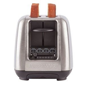 Farberware 4-Slice Toaster  Rated 3.5/4 the Farberware 4-Slice Toaster has a brush-less stainless steel body and all the toasting functions you're looking for. The device will let you toast your bread to a wide array of crispiness while its wide slots ensure that bread is not the only thing you toast. It can easily take in over-sized slices as well as bagels, without any hassle. You won't find a better deal at this price tag.