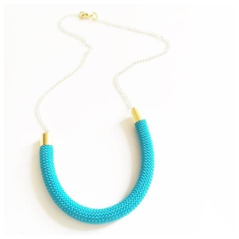 Turquoise | Gold Rope Chain Necklace