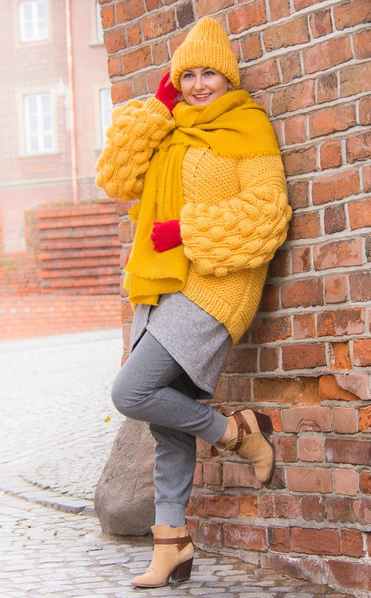 Selfmade yellow sweater and cap