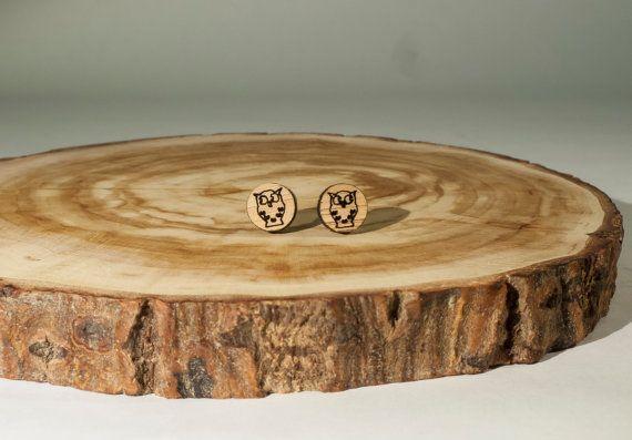Little Owl Stud Earrings Bamboo by BeamDesigns on Etsy