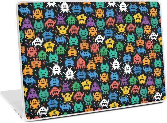 "Pixelated Emoji Monster Pattern Illustration by Gordon White | Emoji Monster PC Laptop 15"" Laptop Skin Available @redbubble --------------------------- #redbubble #emoji #emoticon #smiley #faces #cute #addorable #pattern #laptop #skin #laptopskin #macbook"