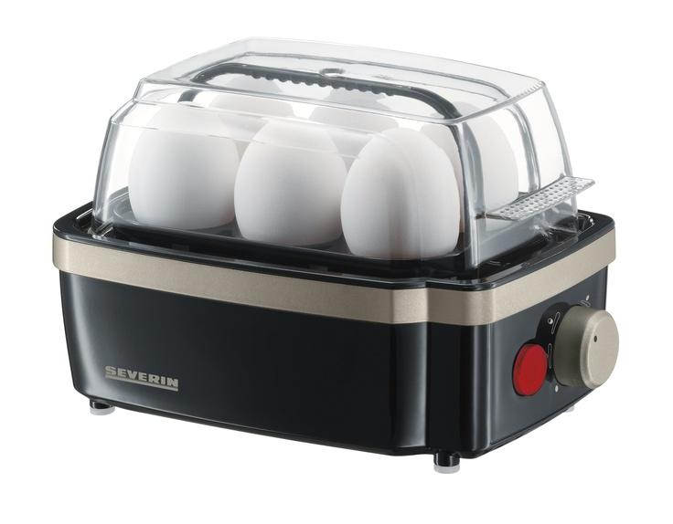 CUECEHUEVOS 3157  Potencia 400 W.  Capacidad de 1 a 6 huevos.  Dimensiones 210 x 137 x 150 mm   Nº EAN 4008146315701  Carcasa de plástico.  Corte de seguridad térmico.  Placa calorífica con revestimiento antiadherente.  Vaso de medida con punzón para huevos.  Tapa transparente de bisagra.  Control electrónico del tiempo de ebullición para conseguir el grado de dureza deseado.  Zumbador avisador al alcanzar el grado de dureza seleccionada.  Interruptor de apagado/encendido con luz-piloto.