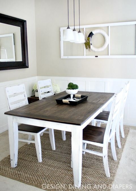 J****** I like the stain color and chairs on this one.   DIY Farmhouse Table Makeover
