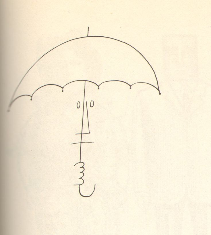Person with Umbrella by Saul Steinberg, 1954