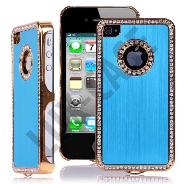 Jewel Golden Edge (Lys Blå) iPhone 4/4S Deksel