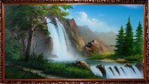 Горный водопад - Водопады <- Картины маслом <- Интерьер <- VIP - Каталог | Универсальный интернет-магазин подарков и сувениров