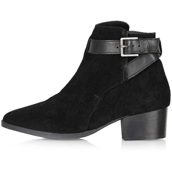 TOPSHOP KREOLE Wrap Boot (212.525 COP) ❤ liked on Polyvore featuring shoes, boots, black, short leather boots, leather bootie, genuine leather boots, topshop boots and black leather bootie