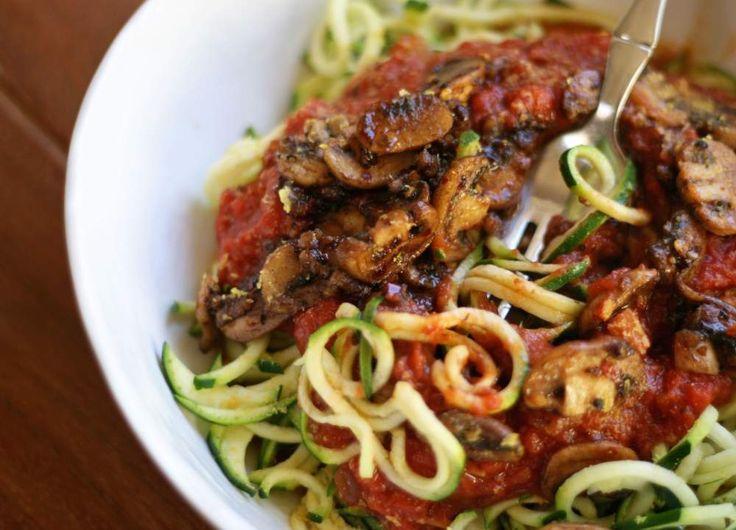 Zucchini Noodle & Mushroom Marinara | VeguKate
