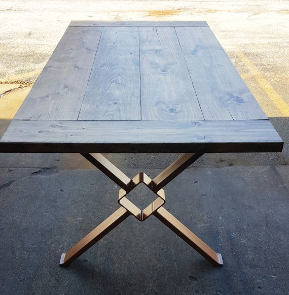 Modern Dining Table X Legs Industrial Legs from 3 x 1 by DVAMetal