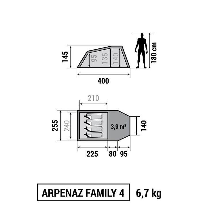 All Tents - Arpenaz 4 Family Tent - 4 Man Quechua