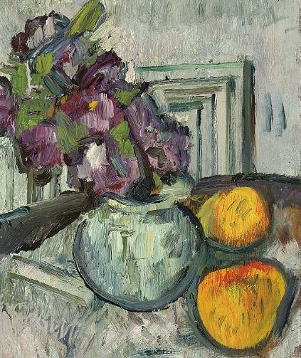 George Leslie Hunter-Still Life with Purple Flowers and Apples. This painting is of a vase of flowers with two apples beside it. The colours of the backdrop and the table are dark so this gives the painting a dull atmosphere. The flowers look like they are drooping so this also gives the painting a dull atmosphere. The paint is applied very thickly and roughy, giving the painting an overall rough look. The shadows under the apples and the vase are painted on blotchy so this makes these…
