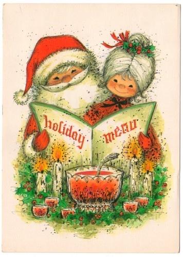 use as Christmas Menu image. Vintage Christmas Card