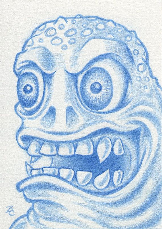 Micro Mystery Monster 005 original ACEO ATC blue by bryancollins, $25.00