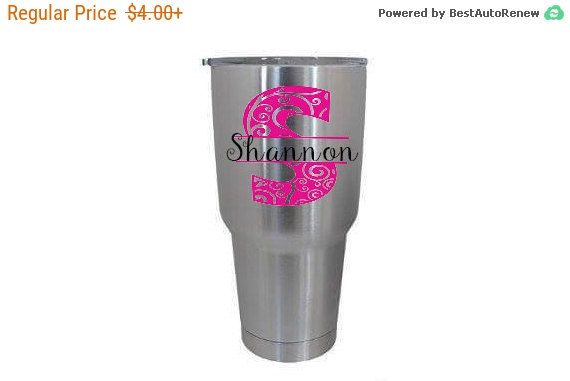 Stainless Steel Tumbler Monogram Decal, Personalized vinyl decal, Custom waterproof sticker, colorful oracal vinyl,  Samantha font, 2 layers #fallfinds #vineandwhimsydesigns #giftideas #Etsyusa #etsy #handmadegifts #Etsyweddings #etsyshop